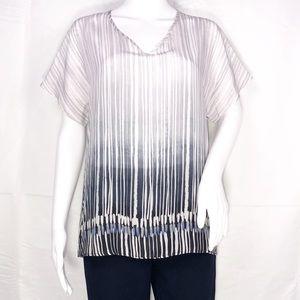Nic+Zoe White & Black Graphic Stripe Blouse Sz Sm